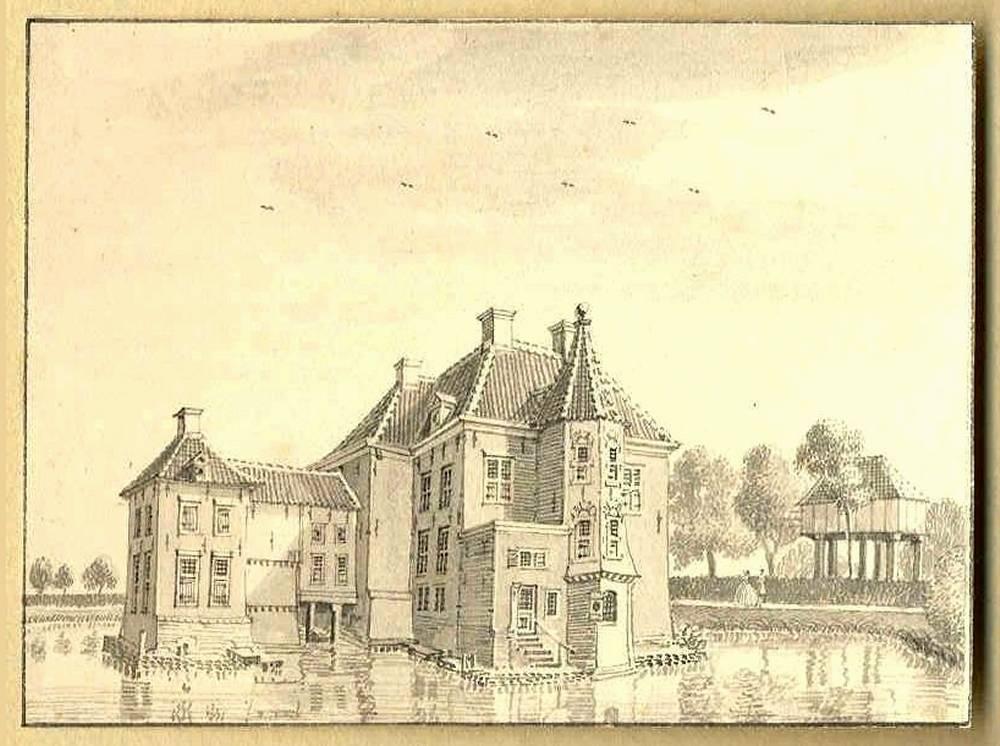Huize Het Holthuis in Twello. Tekening Jan de Beijer, 1743